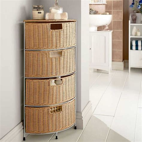 wicker bathroom furniture drawer corner storage homes