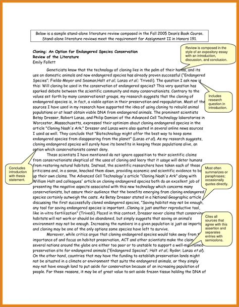 Exle Of A Literature Review by Literature Review Format Notary Letter