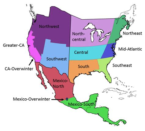 american maps regions monarchnet the american network of monarch