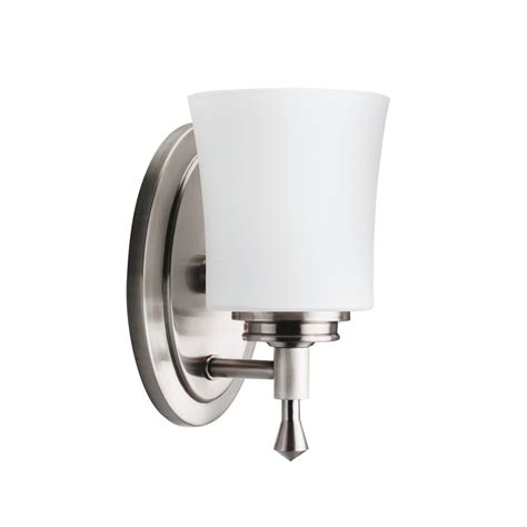 Transitional Bathroom Lighting Shop Kichler Lighting 1 Light Wharton Brushed Nickel Transitional Vanity Light At Lowes