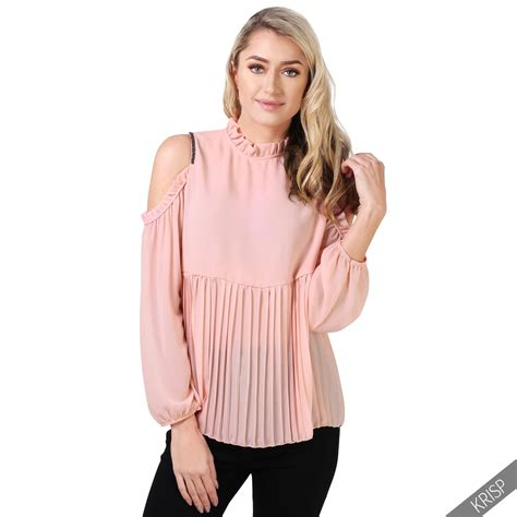 Blouse Import C1 18 womens cut cold shoulder frilled pleated ruffle neck blouse top shirt ebay