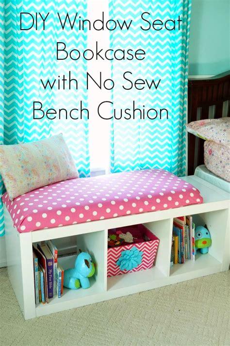 diy window seat bookcase   sew bench cushion