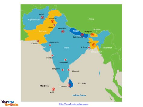 south asia map countries and capitals free south asia editable map free powerpoint templates