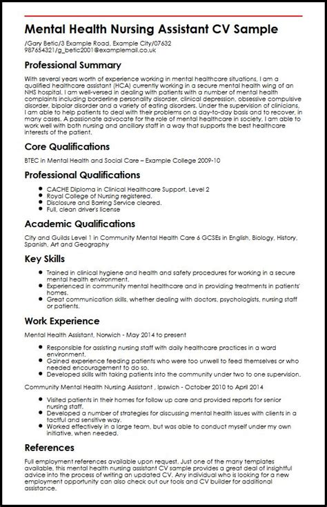cv template care assistant mental health nursing assistant cv sle myperfectcv