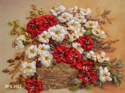 fiori con i nastri fiori opera d arte di ricamo con nastro di seta