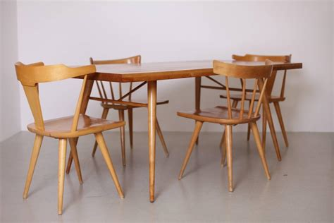 paul mccobb dining set four chairs and table maple 1950s