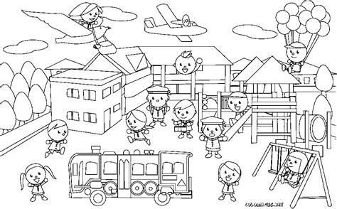 Coloriage Des Enfants Dans La Cours De L 233 Cole Gratuit S Dessin Coloriage La Rentree Des ClassesL