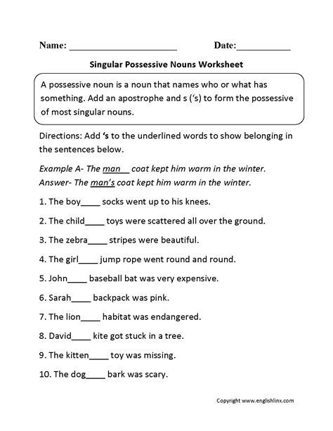 singular possessive nouns worksheets sunboard