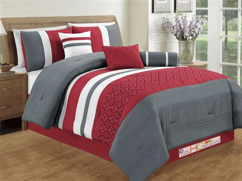 red and gray comforter sets 7p diamond circle floral geometric embroidery comforter