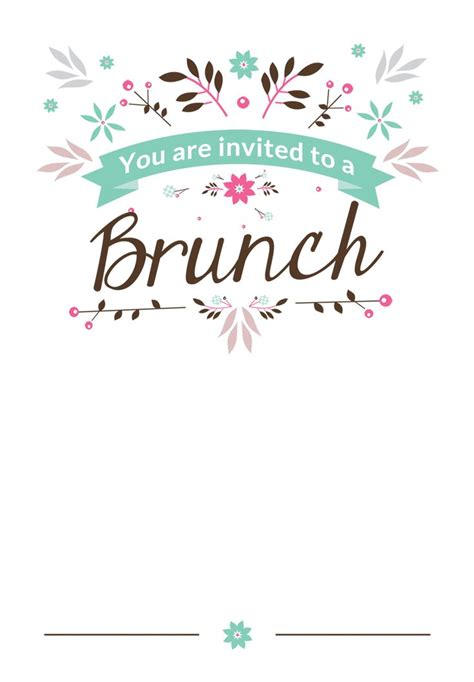 brunch invitation template free flat floral free printable brunch invitation template