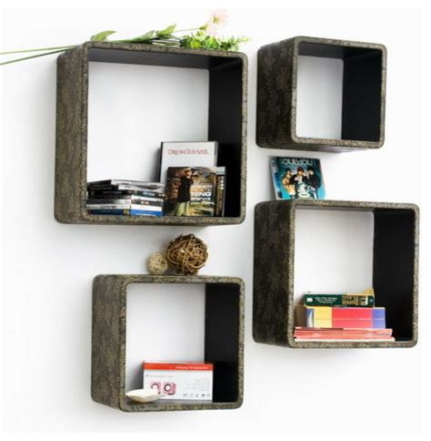 Square Floating Shelves Retro Bronze Square Leather Wall Shelf Bookshelf