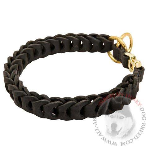 correction collar braided leather siberian husky choke collar for and behavior correction