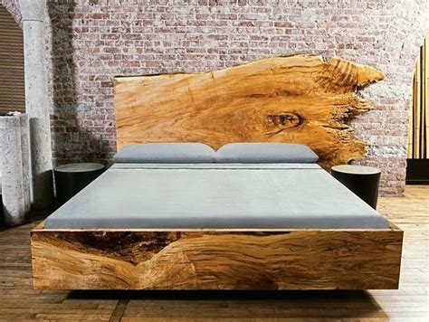raw wood headboard maple wood bed frame tiny house cabin plans pinterest