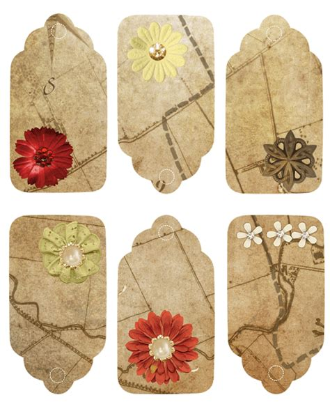flower tags template free vintage gift tags with flower free printable papercraft