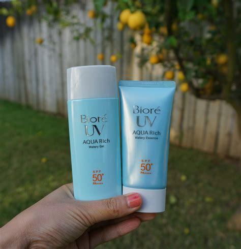 Biore Uv biore uv aqua rich watery gel and essence sunscreen review