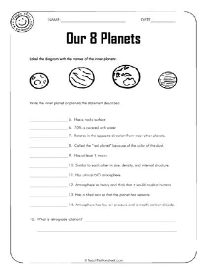 teach this worksheets create and customise your own inner planets worksheet wiildcreative