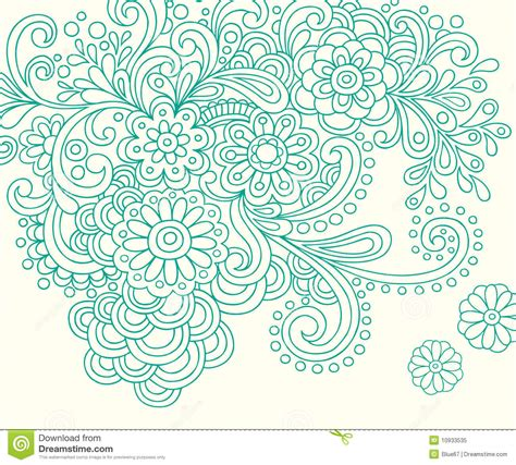doodle henna abstract flowers vector stock vector image