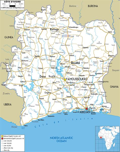 cote d ivoire africa map large detailed road map of cote d ivoire cote d ivoire