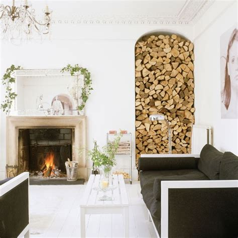 fireplace log storage log store feature clever designs for alcoves
