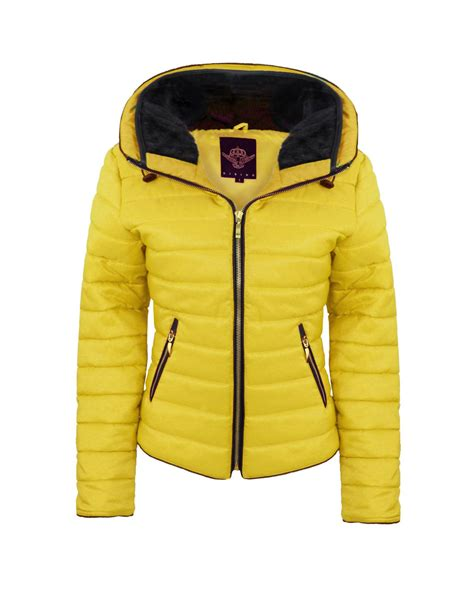 Jaket Yellow new quilted padded fur collar