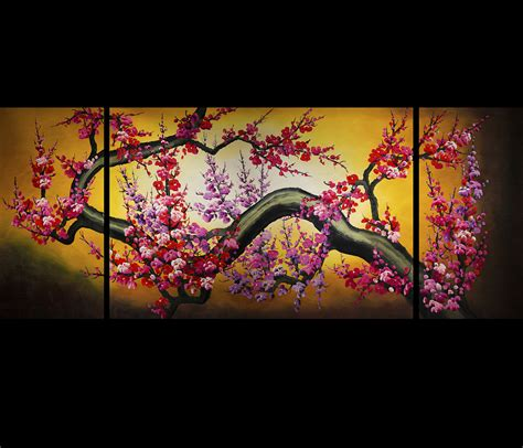 cherry blossom painting feng shui painting canvas wall