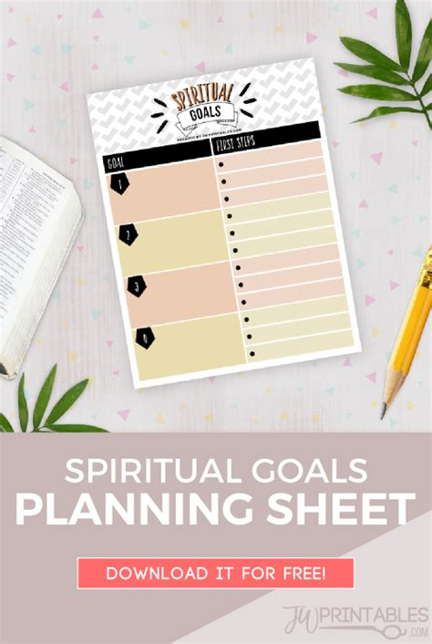 spiritual goals sheet jw jw printables