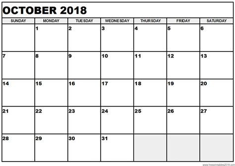 printable calendar oct 2018 free printable calendar october 2018 free printables 2018