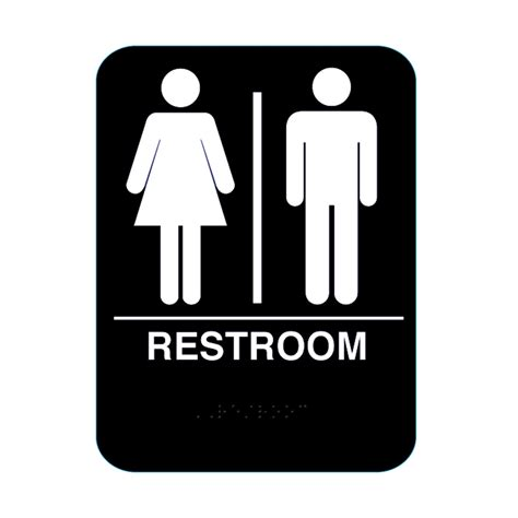 toilet bathroom signs for home unisex restroom sign with braille black cr rs68 bl