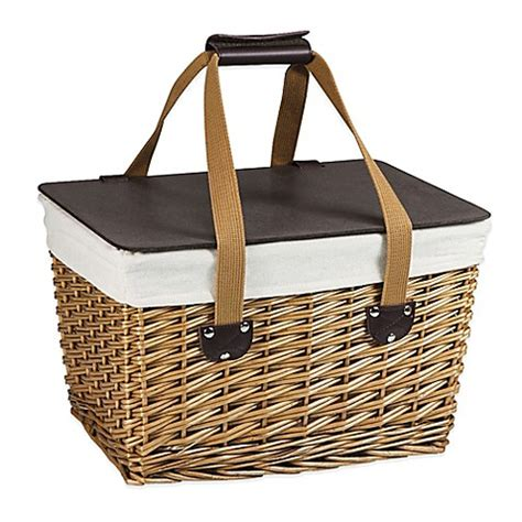 bed bath and beyond baskets picnic time 174 canasta picnic basket in natural finish bed