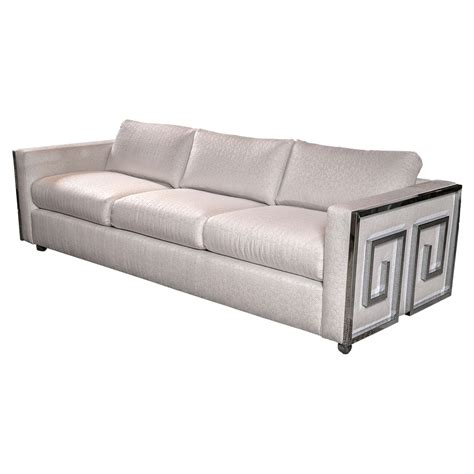Mid Century Milo Baughman Chrome Greek Key Sofa At 1stdibs