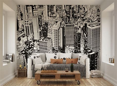 wall murals cityscapes ohpopsi black and white cityscape illustration wall mural ebay