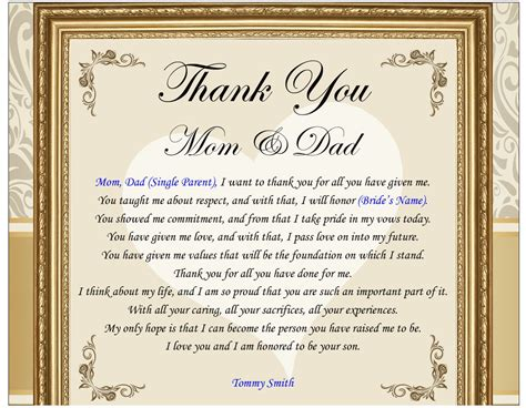 thank you letter to parents wedding day wedding gift to parents from or groom in picture frame