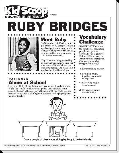 Ruby Bridges Worksheets by Kid Scoop Ruby Bridges It S Elementary