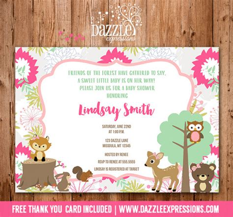Printable Woodland Girl Baby Shower Invitation Forest Woodland Invitation Template