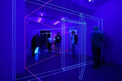 three dimensional uv thread installations by jeongmoon