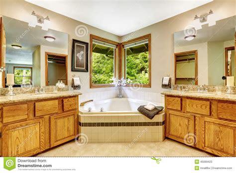 luxury bathroom vanity cabinets luxury bathroom interior with two vanity cabinets and corner bat stock photo image