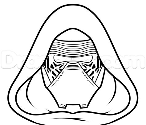 Kylo Ren Helmet Coloring Page | how to draw kylo ren easy step 6 art class pinterest