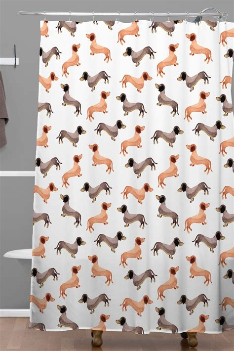 dachshund shower curtain darling dachshunds woven shower curtain wonder forest
