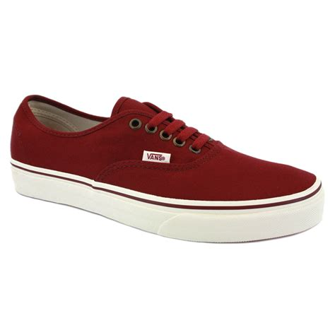 vans sneakers mens vans authentic njv5uj mens canvas laced trainers burgundy