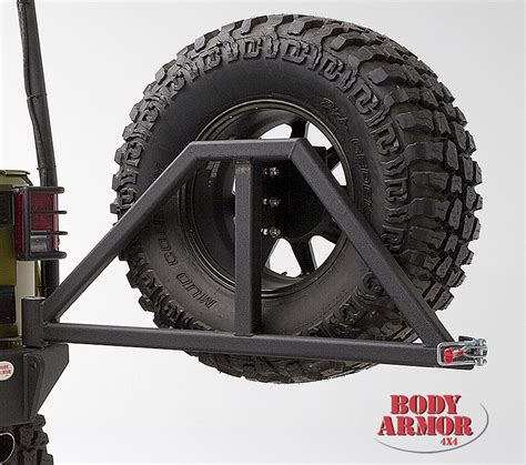 swing arm tire carrier body armor 4x4 5294 black steel swing arm tire carrier