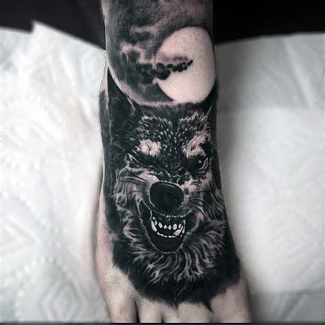 mens foot tattoos guys foot moonlit beast tattoos