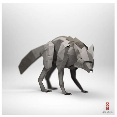 Origami Wolf - 3d origami illustrations of animals motley news