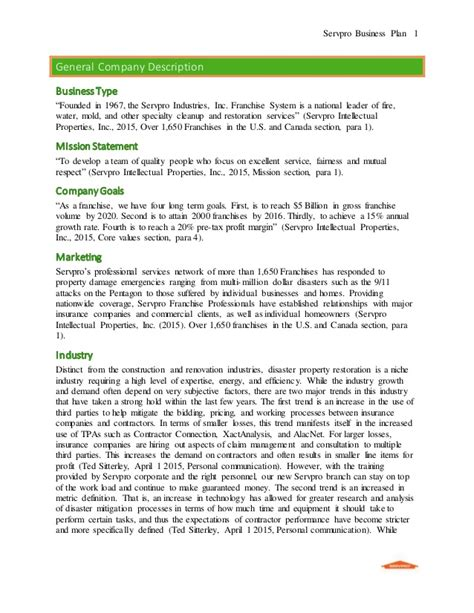 general business plan template servpro business plan