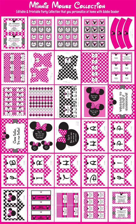 printable minnie mouse party decorations minnie mouse party printables invitations decorations