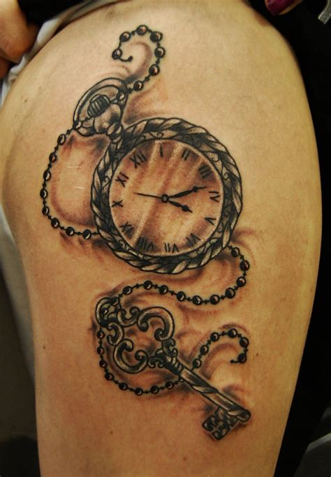 rose and chain tattoos hanging pocket watches with beautiful chains look