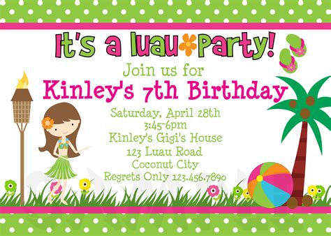luau invitation template free printable birthday invitations luau