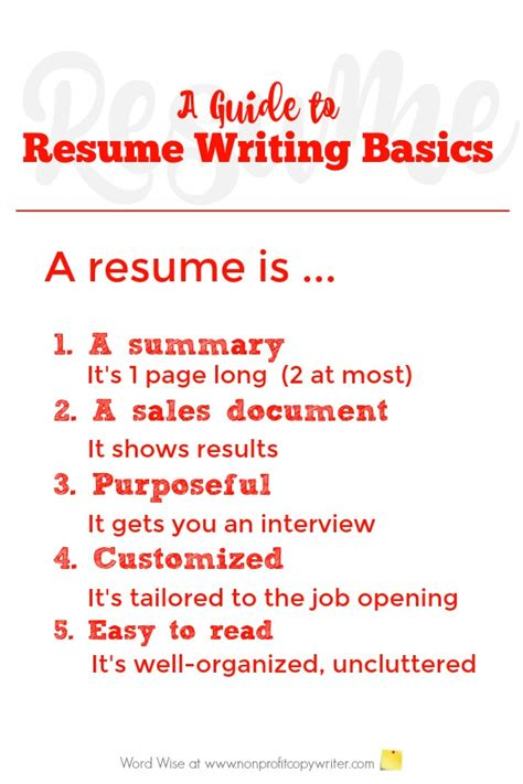 Resume Basics by Basics About Writing Resumes