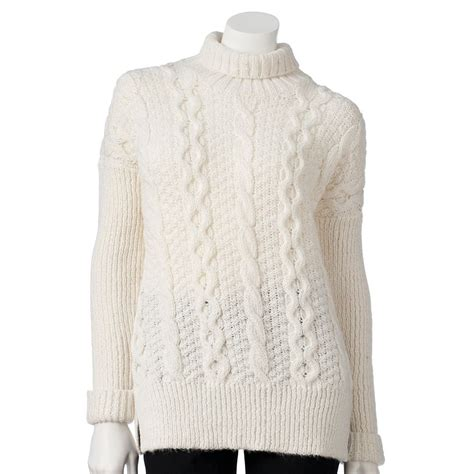 Jlo By Clothing Turtleneck Sweater by New White Sz Small Womens Cable Knit Lurex Turtleneck