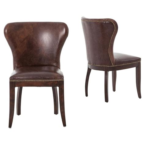 Cornelius Top Grain Cigar Brown Leather Dark Wood Dining Pair Of Dining Chairs