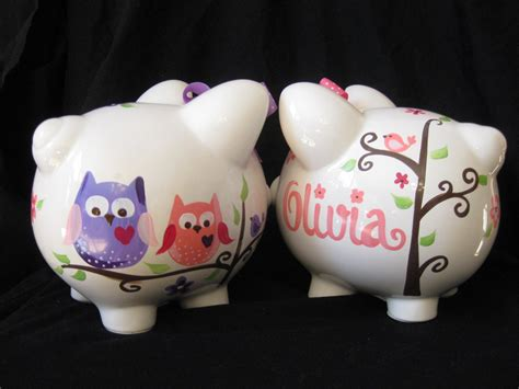 painted piggy banks piggy bank painted personalized pink and purple dena owl